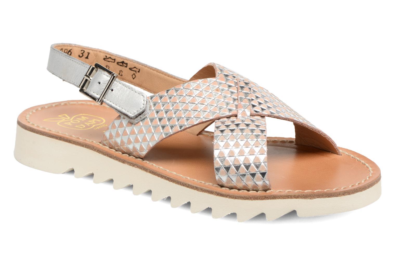 Sandales et nu-pieds Pom d Api Ripple Cross Buckle Argent vue détail/paire