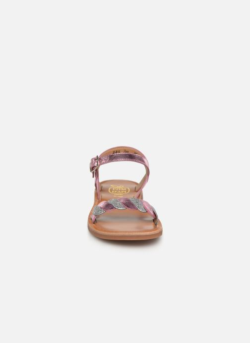 Sandales et nu-pieds Pom d Api Plagette Twist Argent vue portées chaussures
