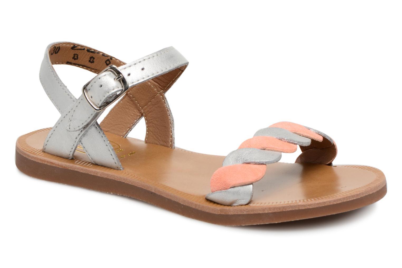 Sandales et nu-pieds Pom d Api Plagette Twist Argent vue détail/paire