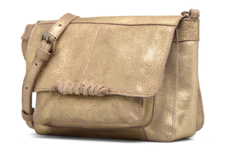 Borse Pieces Musta Leather Crossover bag Oro e bronzo modello indossato