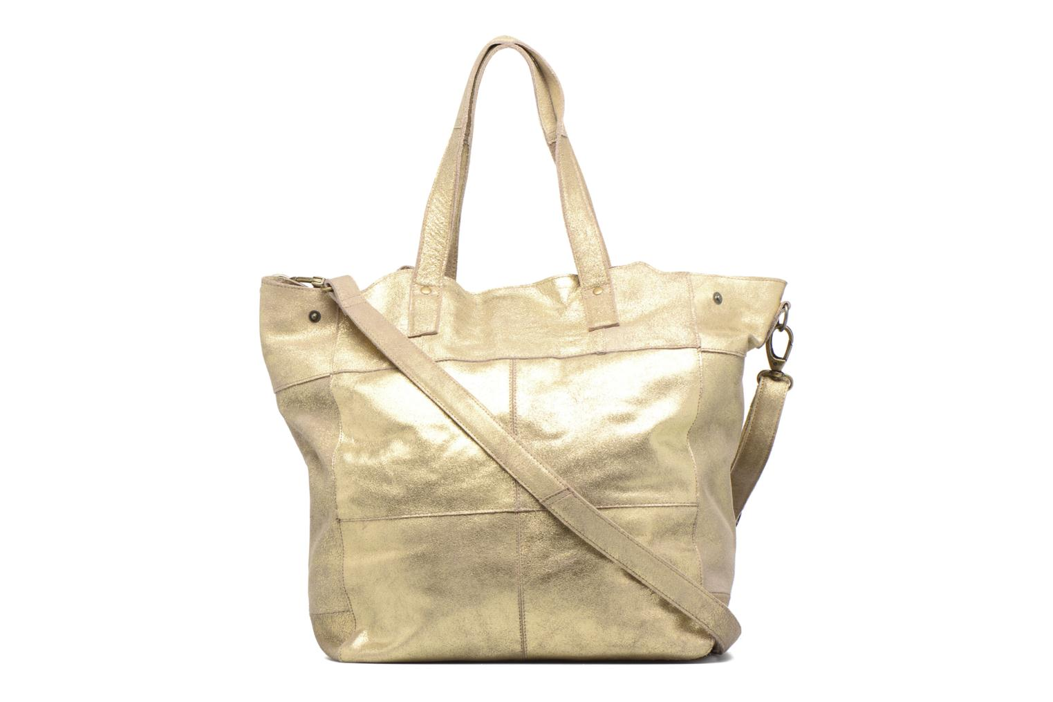 Handbags Pieces Vanity Leather Big bag Foil Bronze and Gold front view