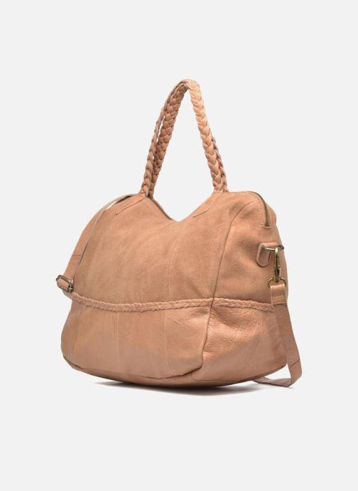 Sacs à main Pieces Cameo Leather bag Beige vue portées chaussures