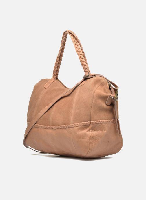 Handtaschen Pieces Cameo Leather bag beige ansicht von rechts
