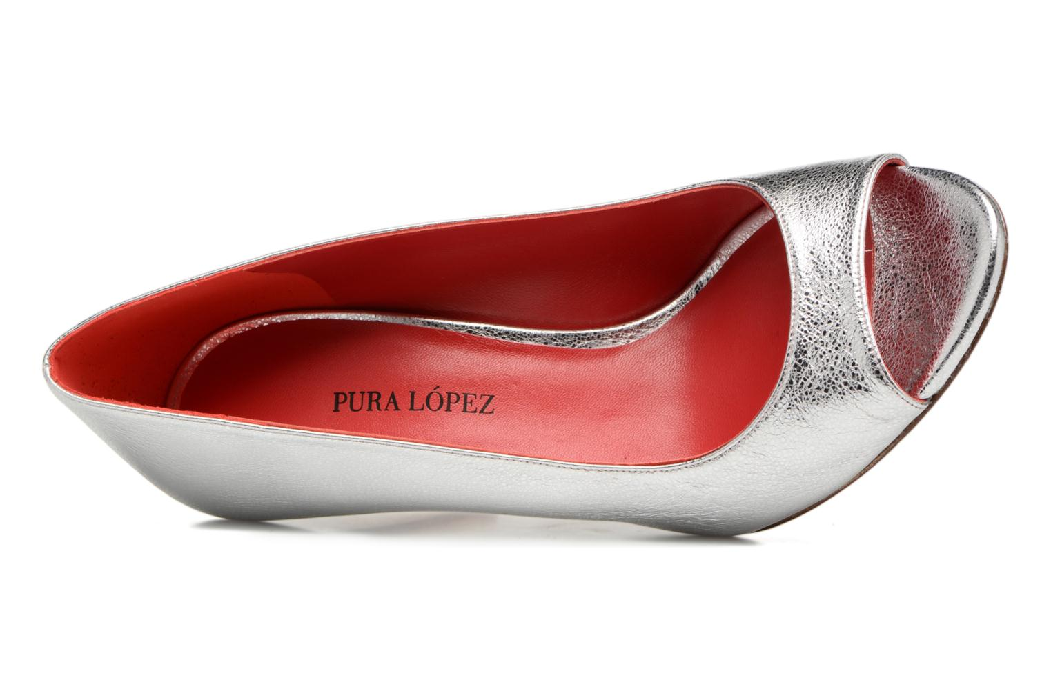 High heels Pura Lopez Lorina Silver view from the left