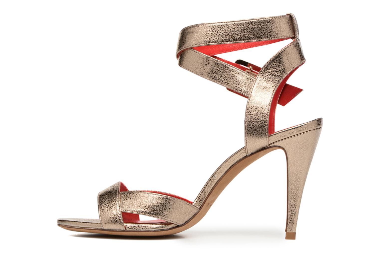 Sandalias Pura Lopez Violetta Oro y bronce vista de frente
