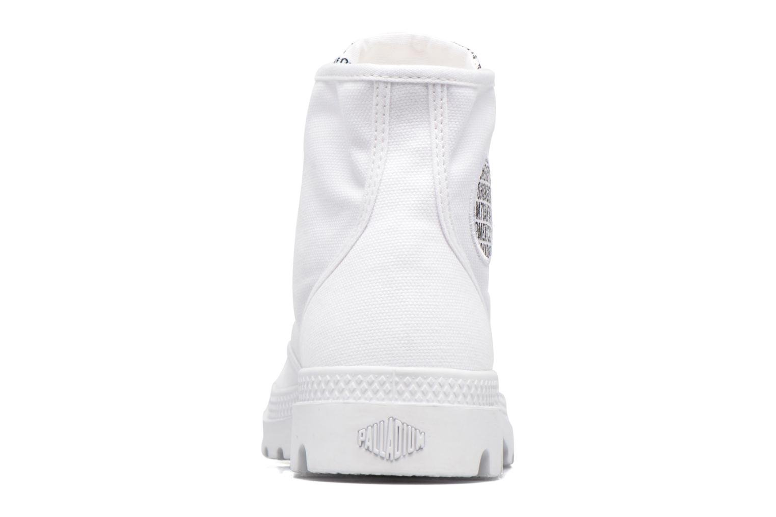 Deportivas Palladium Pampa Hi 70Th U Blanco vista lateral derecha