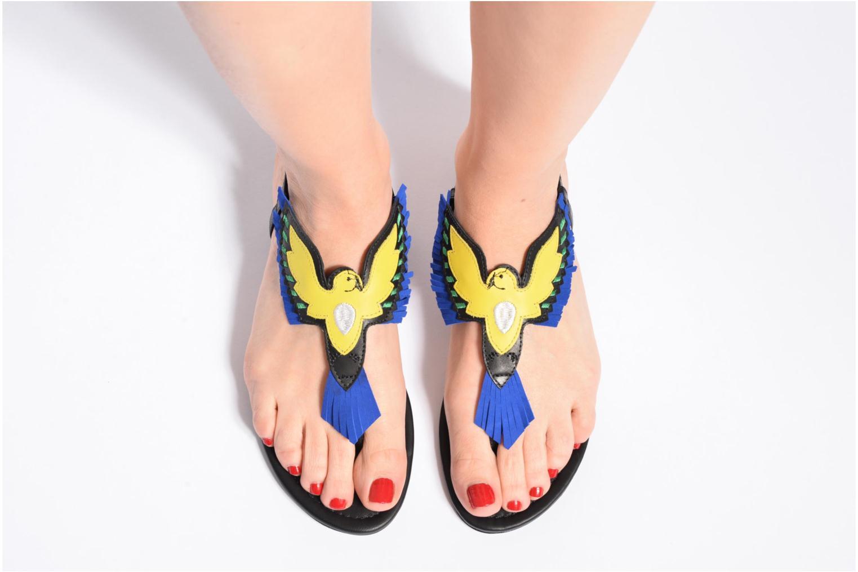 Sandales et nu-pieds COSMOPARIS Jing Noir vue bas / vue portée sac