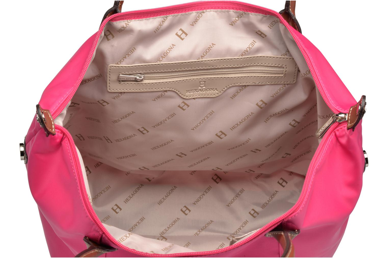 Handtassen Hexagona Cabas A4 Nylon Porté épaule Roze achterkant
