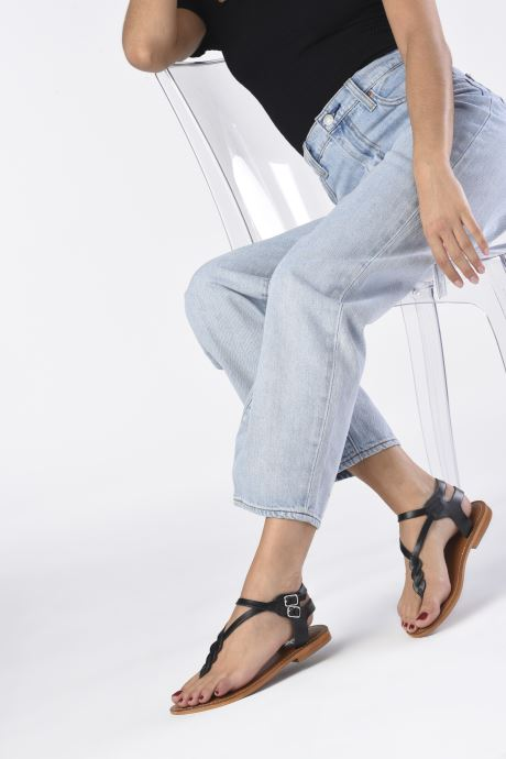 Sandales et nu-pieds L'Atelier Tropézien Ava Noir vue bas / vue portée sac