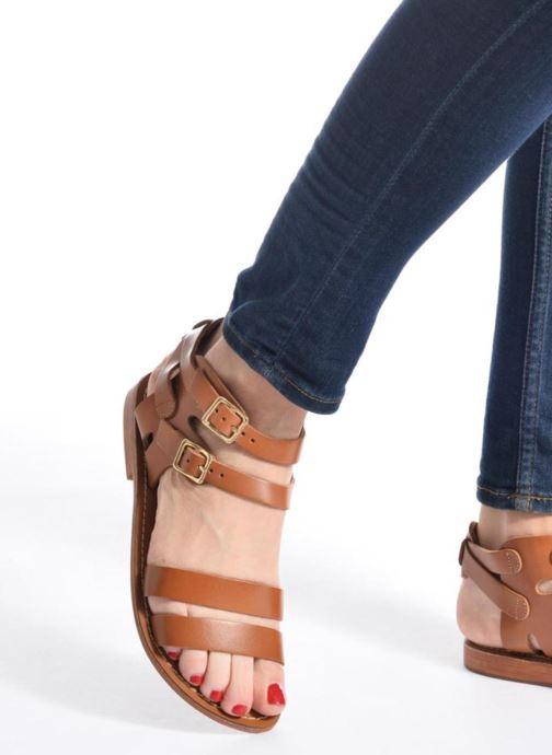 Sandales et nu-pieds L'Atelier Tropézien Liz Marron vue bas / vue portée sac