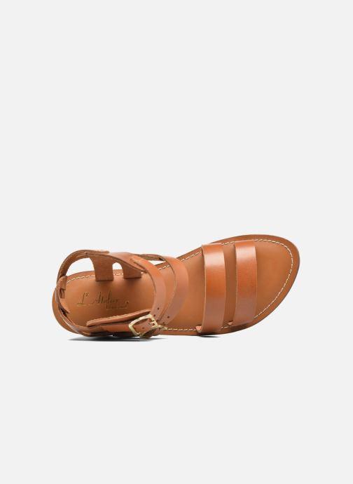Sandales et nu-pieds L'Atelier Tropézien Liz Marron vue gauche