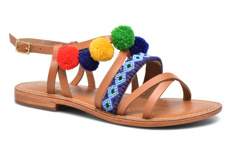 Sandals L'Atelier Tropézien Popo Brown detailed view/ Pair view