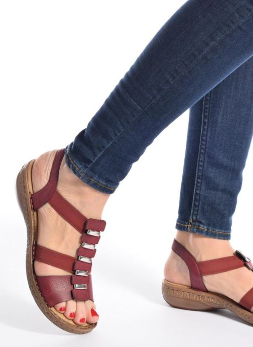 Sandals Rieker Augusta 62850 Red view from underneath / model view