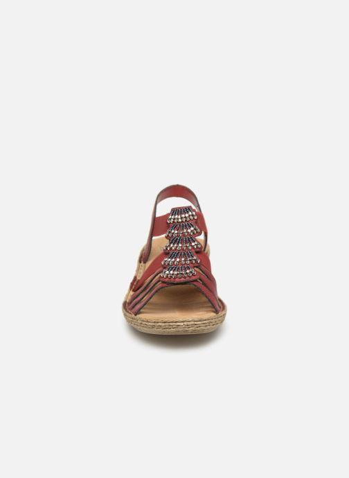 Sandaler Rieker Nora 65869 Vinröd bild av skorna på