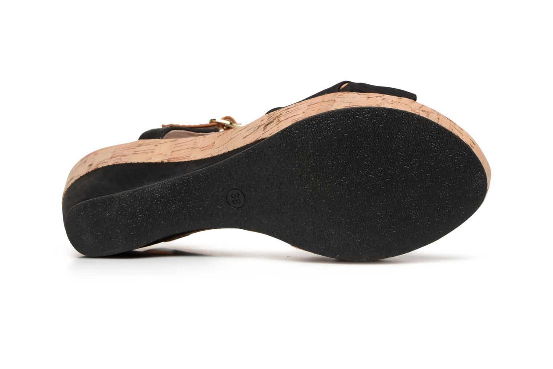 Sandales et nu-pieds Les P'tites Bombes Folk Noir vue haut