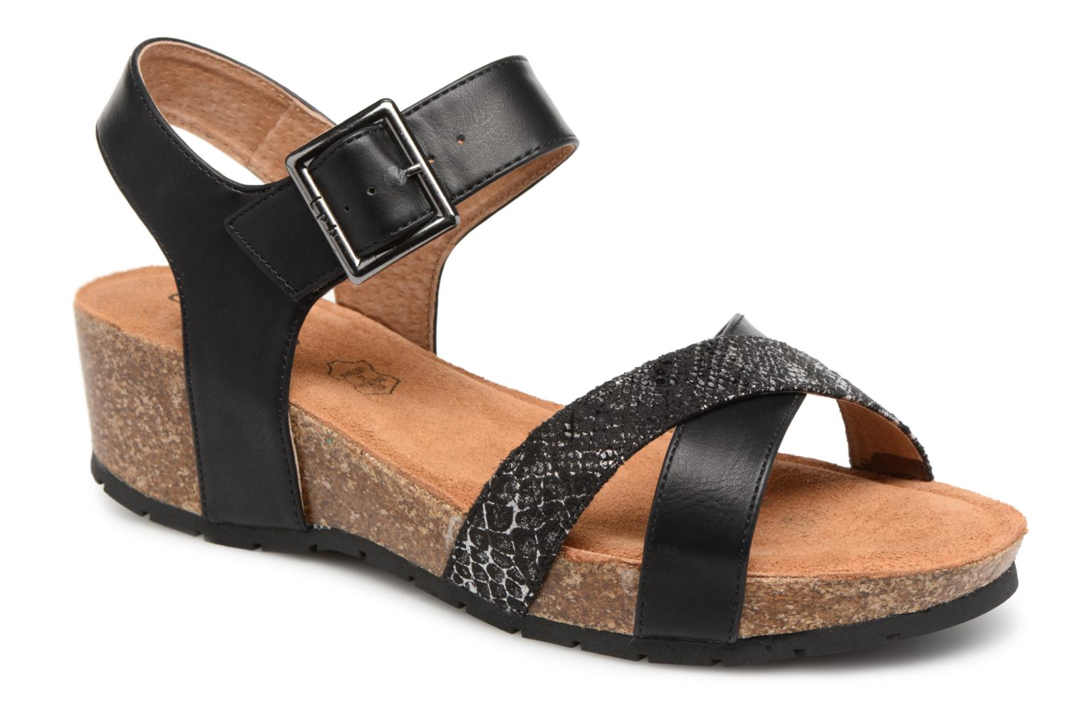 Sandals Les P'tites Bombes Paloma Black detailed view/ Pair view