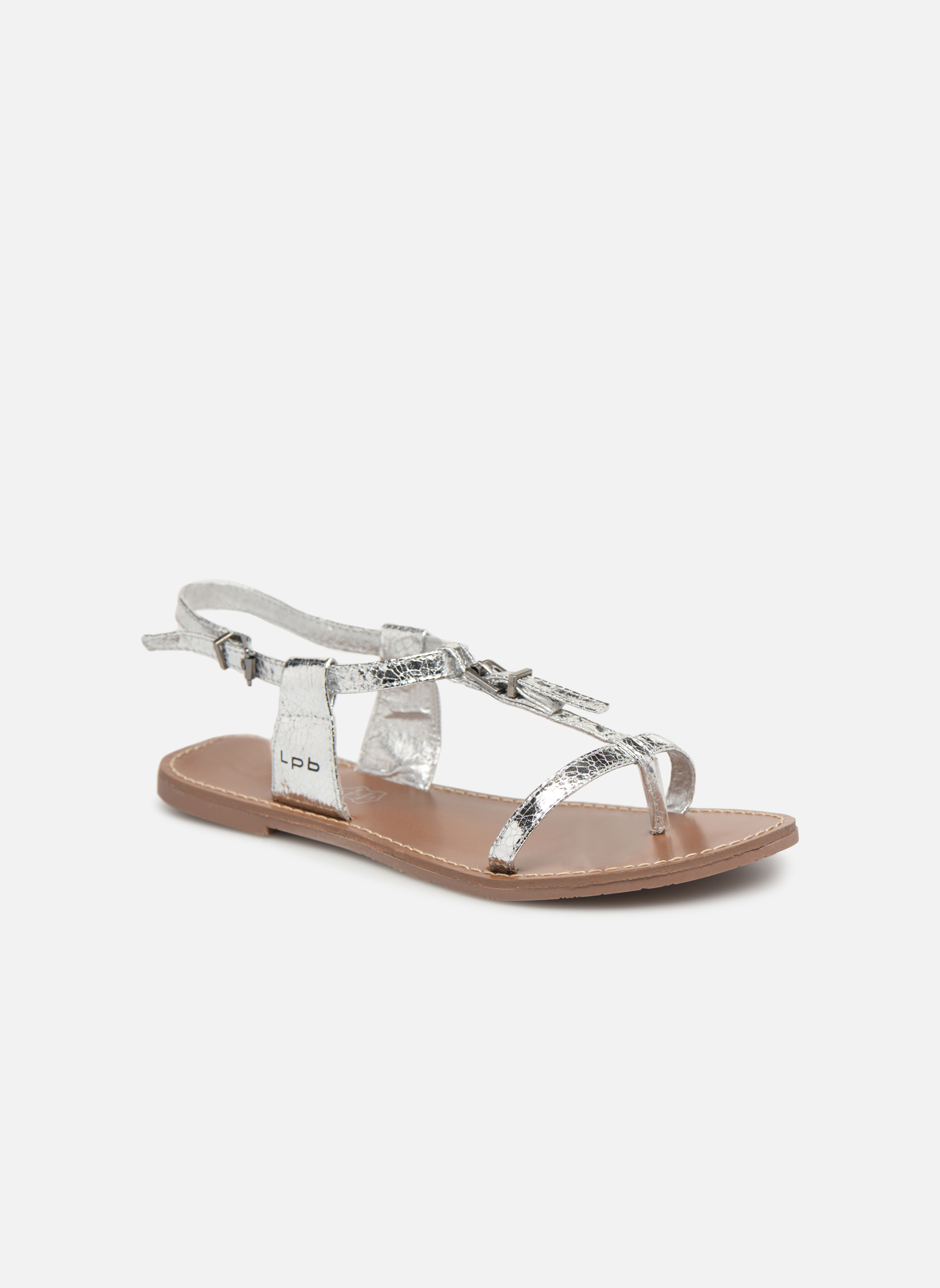 Sandals Les P'tites Bombes Zhoe Silver detailed view/ Pair view