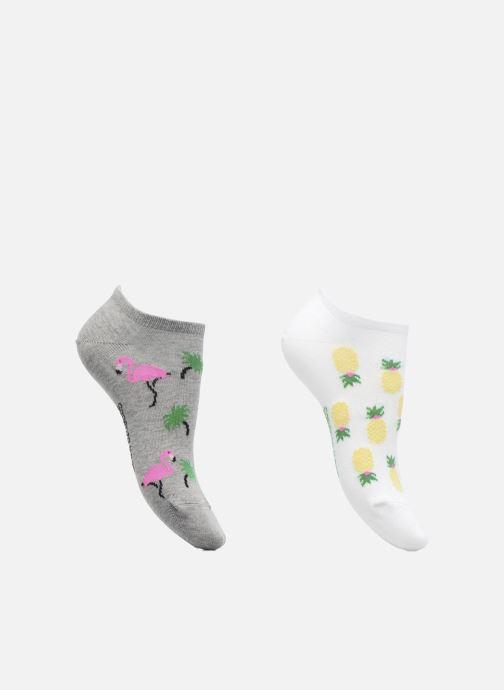 Chaussettes et collants Sarenza Wear Chaussettes Femme Pack de 2 invisibles Ananas & Flamant Rose Coton Gris vue détail/paire
