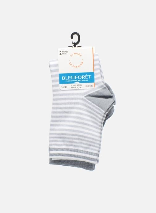 Socks & tights BLEUFORÊT DUO SOCQUETTES RAYURES Grey back view