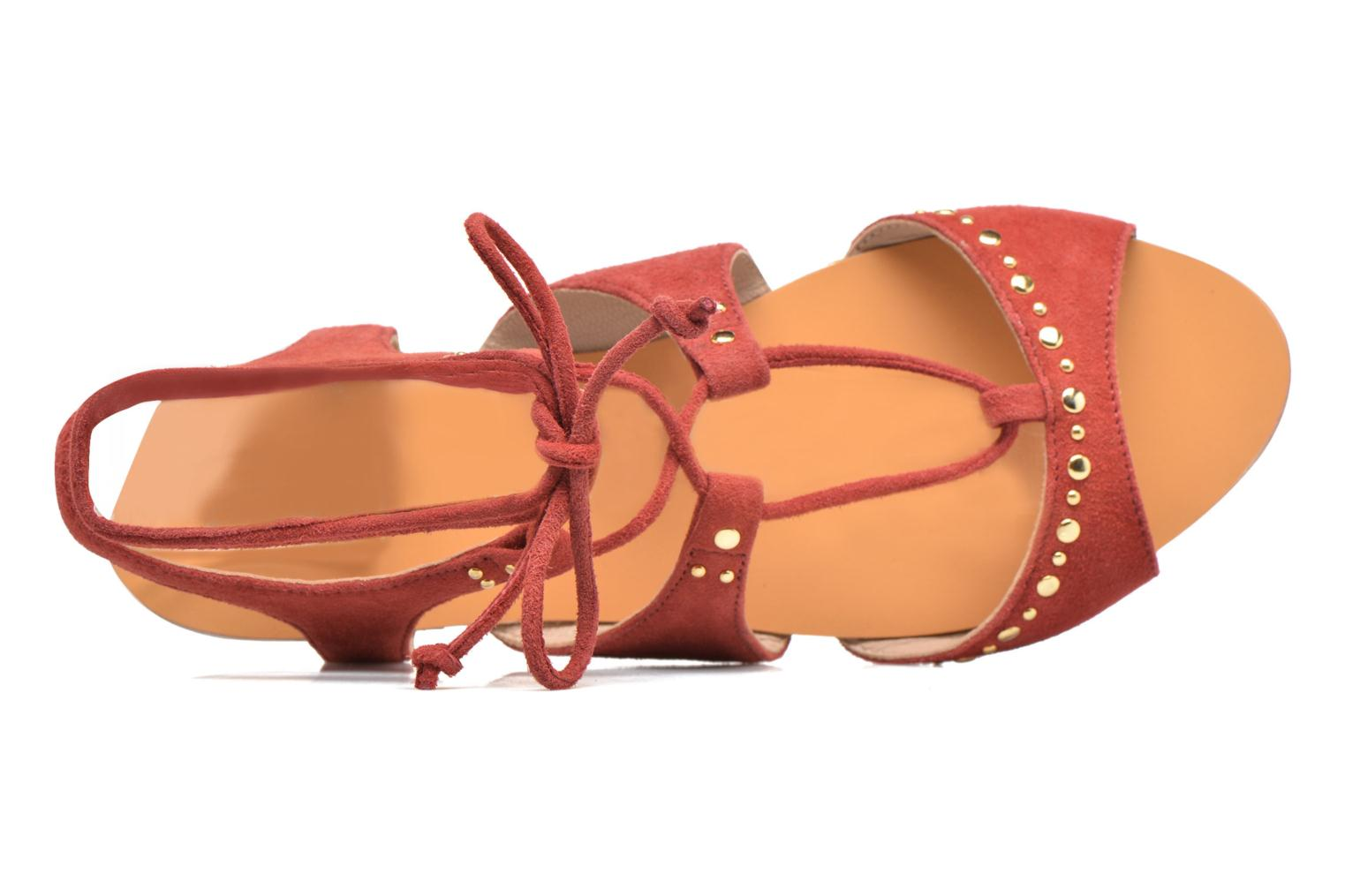 Sandals Petite mendigote Osier Red view from the left