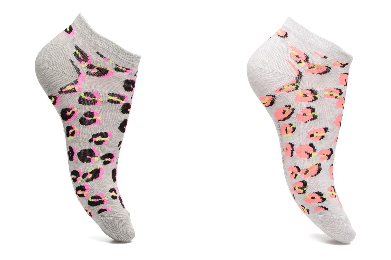 Socks & tights Sarenza Wear Chaussettes invisibles Femme Léopard Pack de 2 Coton Grey detailed view/ Pair view