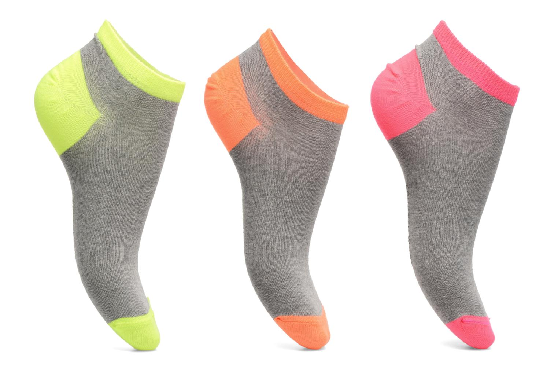Chaussettes et collants Sarenza Wear Chaussettes invisibles Femme fluo Pack de 3 Coton Gris vue détail/paire