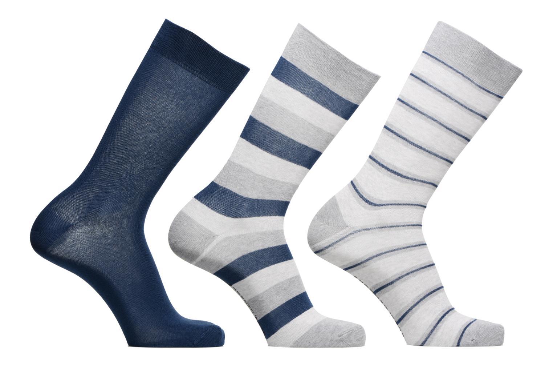 Strømper og tights Sarenza Wear Chaussettes Homme Pack de 3 rayures coton Blå detaljeret billede af skoene