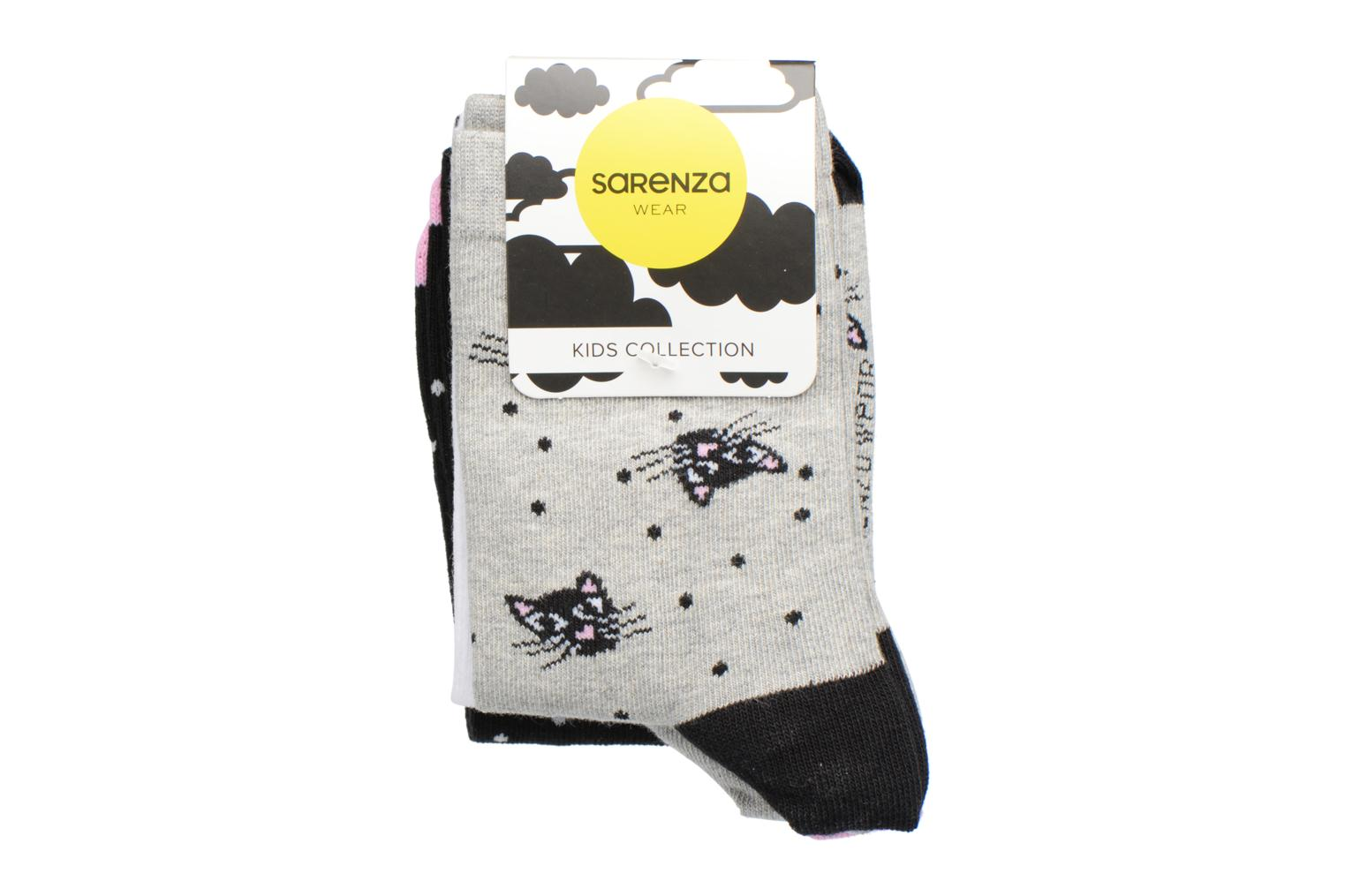 Socks & tights Sarenza Wear Chaussettes Fille Pack de 3 Chat Grey back view