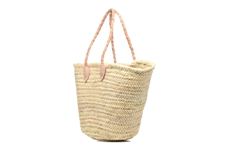 Handbags Etincelles Panier artisanal Vierge longes anses Beige model view