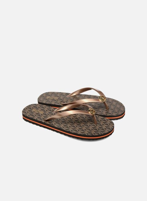 Tongs Michael Michael Kors Mk Flipflop Stripe Marron vue 3/4