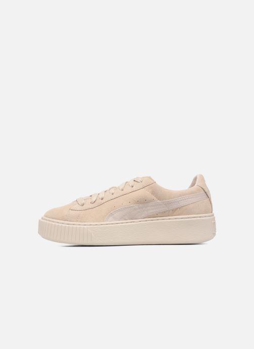 Sneakers Puma WNS SUEDE PLATF SATIN Beige voorkant
