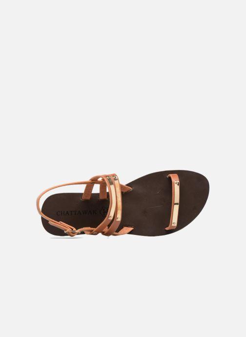 Sandales et nu-pieds Chattawak Lydie Marron vue gauche