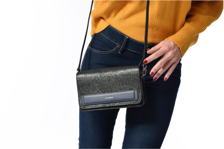 Handtaschen Le Tanneur Porté croisé Coquette TPM 3 soufflets glitter anti RFID schwarz ansicht von oben