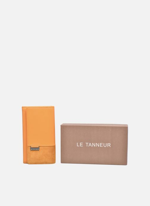 Kleine lederwaren Le Tanneur Porte monnaie Mila long Geel detail