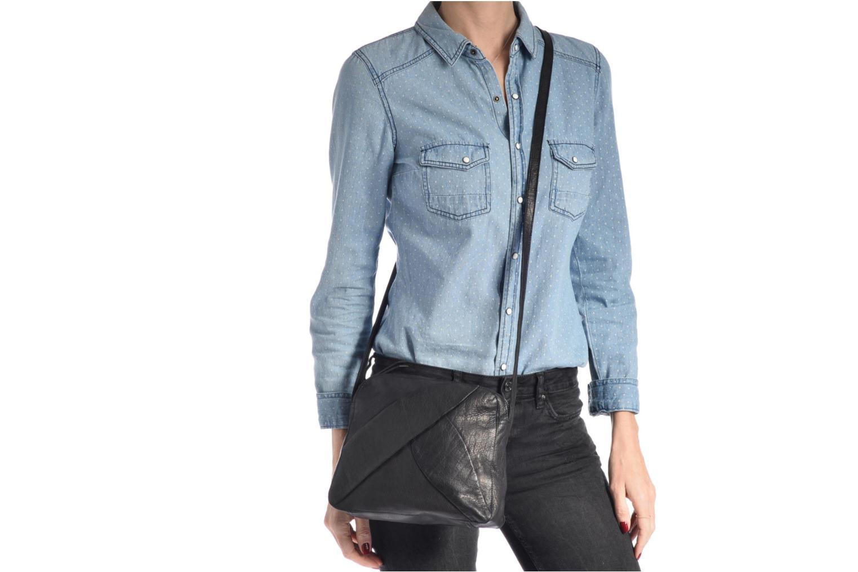 Sacs pochettes Pieces Dacil Leather Cross Over Bag Exp Noir vue haut