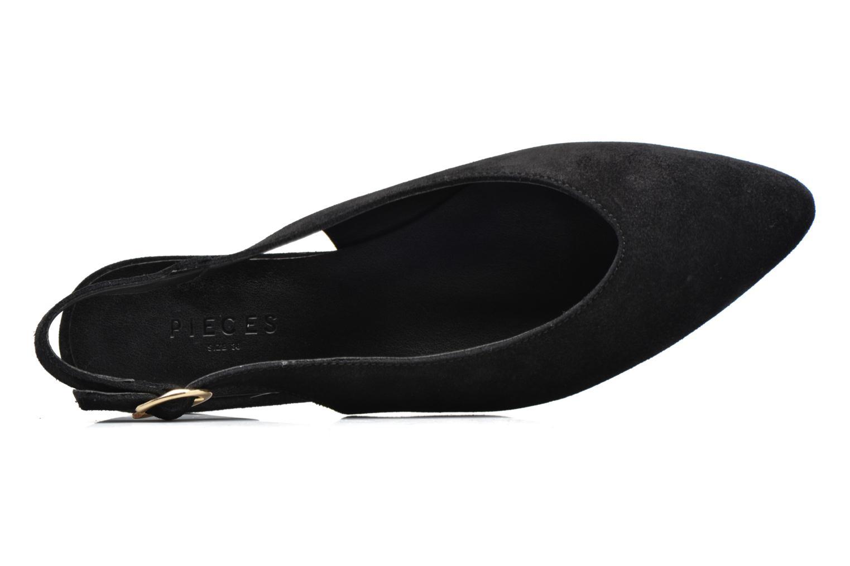 Bailarinas Pieces Pix Suede Shoe Black Negro vista lateral izquierda