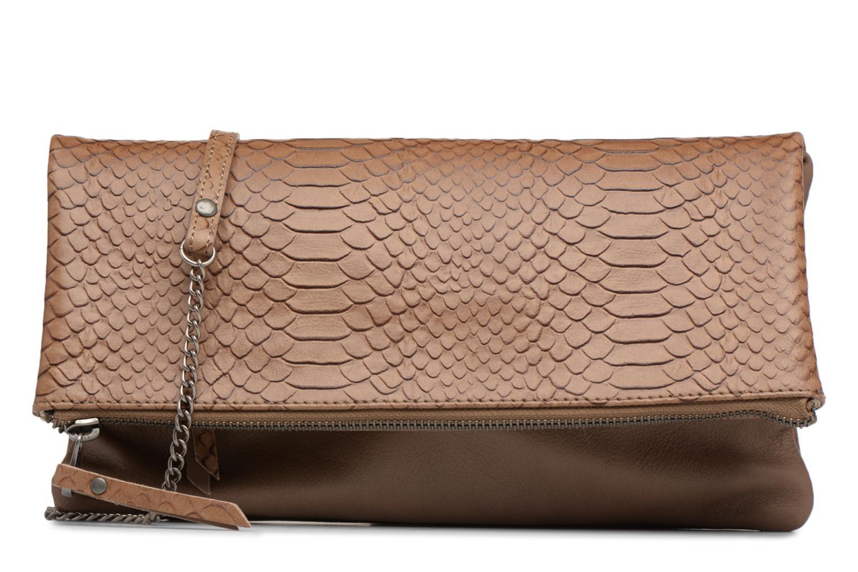 Clutch bags Sabrina Léonie croco Brown detailed view/ Pair view