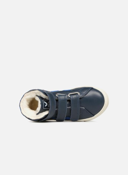 Trainers Veja Esplar Mid Small Velcro Fured Blue view from the left
