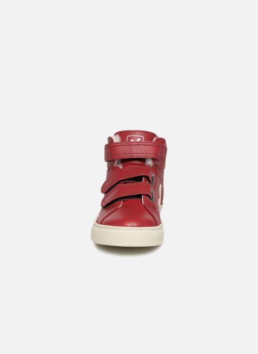 Sneaker Veja Esplar Mid Small Velcro Fured rot schuhe getragen