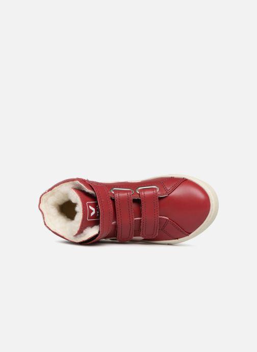 Sneaker Veja Esplar Mid Small Velcro Fured rot ansicht von links