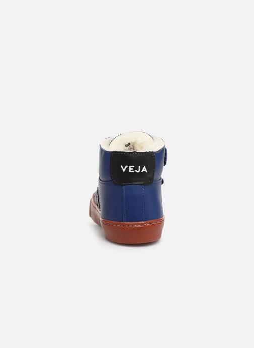 Baskets Veja Esplar Mid Small Velcro Fured Bleu vue droite