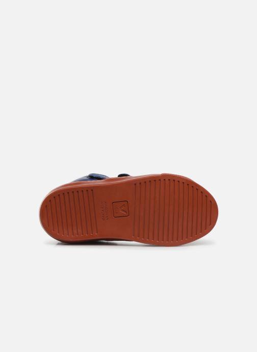 Baskets Veja Esplar Mid Small Velcro Fured Bleu vue haut