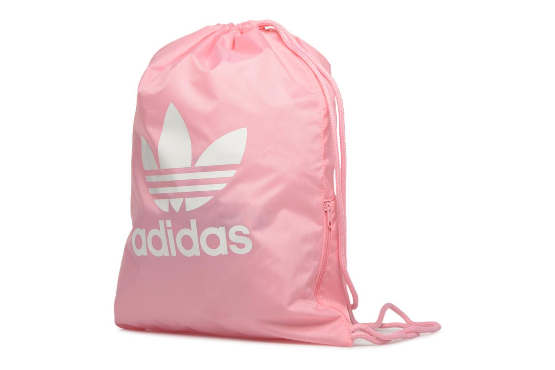 Borsa da palestra Adidas Originals Gymsack Trefoil Rosa modello indossato