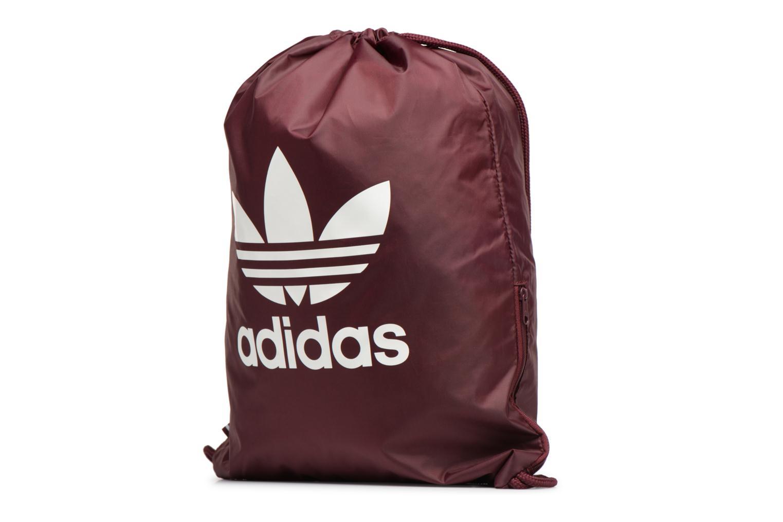 Borsa da palestra Adidas Originals Gymsack Trefoil Bordò modello indossato