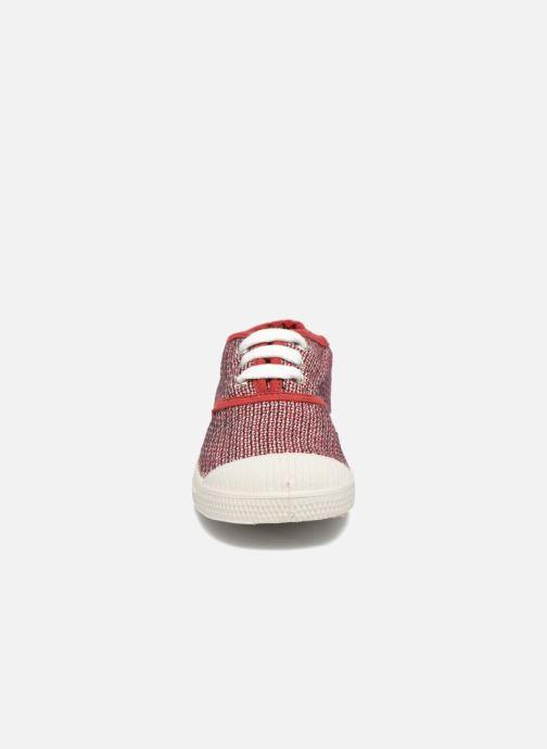 Baskets Bensimon Tennis Fancy Linen E Rouge vue portées chaussures