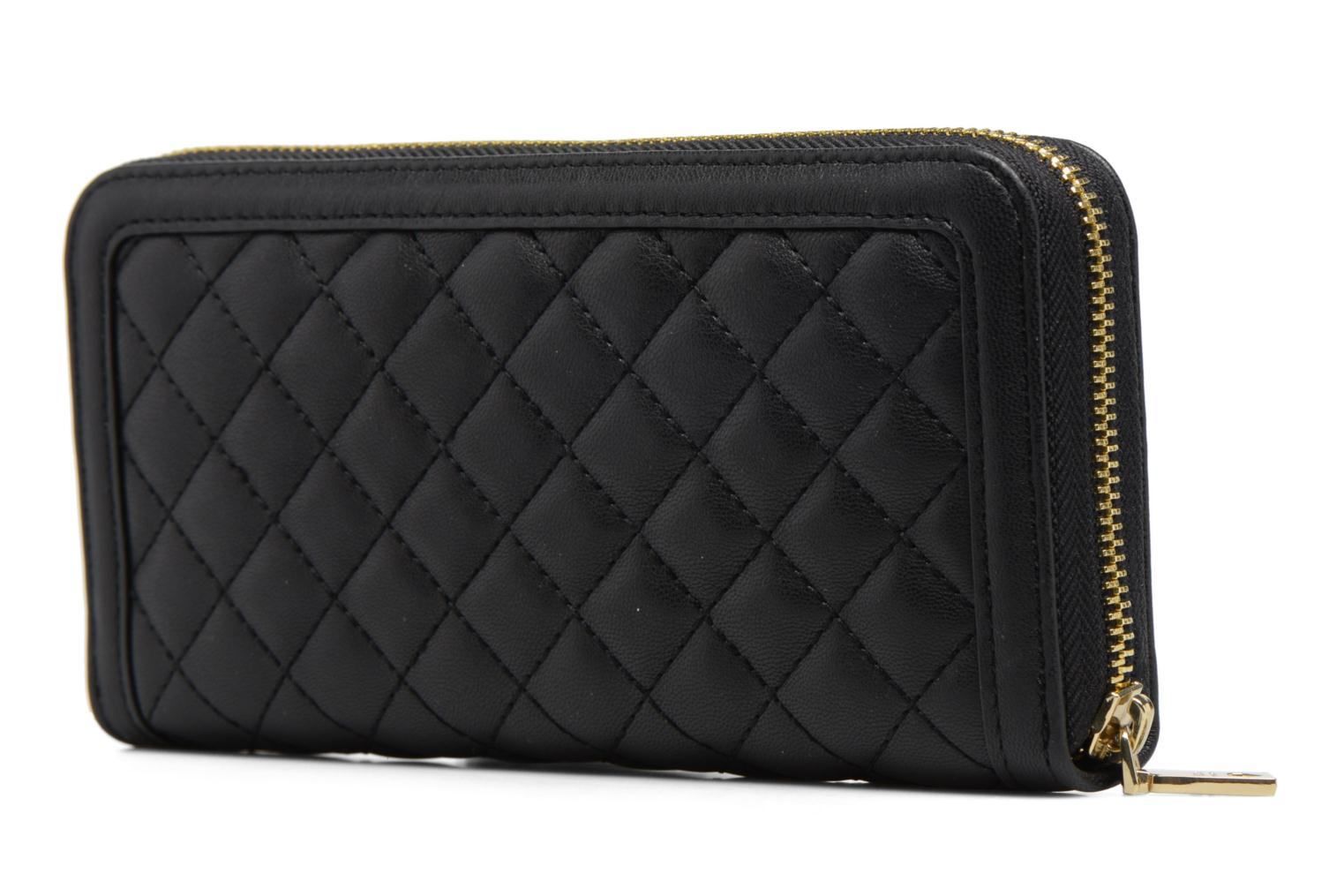 Petite Maroquinerie Love Moschino Portefeuille L Zip Around Quilted Noir vue droite