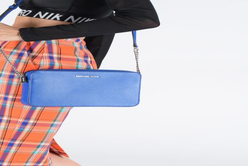 Handbags Michael Michael Kors LG EW Crossbody Blue view from underneath / model view