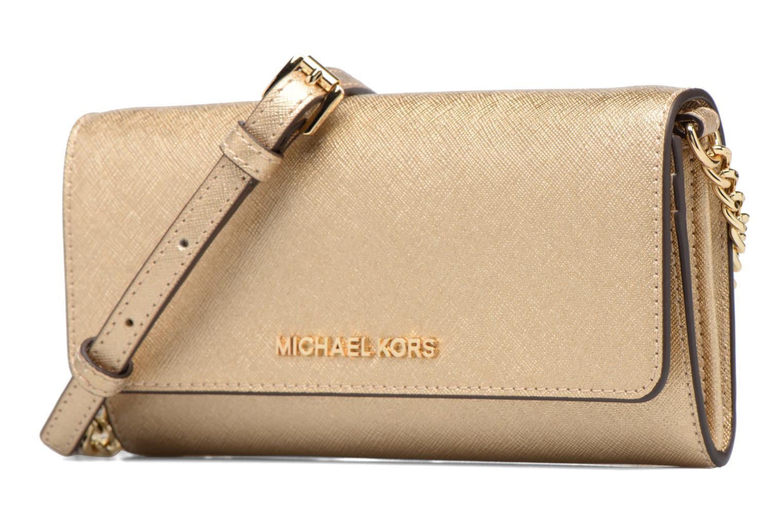 Bolsos de mano Michael Michael Kors Jet Set Wallet on a chain Oro y bronce vista del modelo