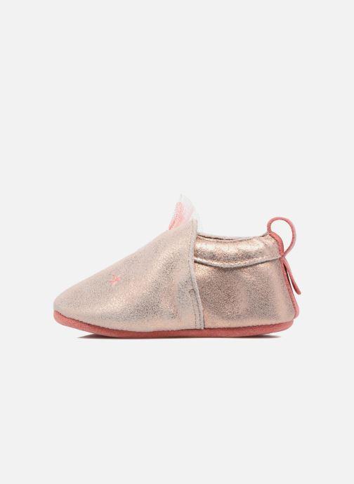 Pantuflas Babybotte Etoiles - Moulin Roty Oro y bronce vista de frente