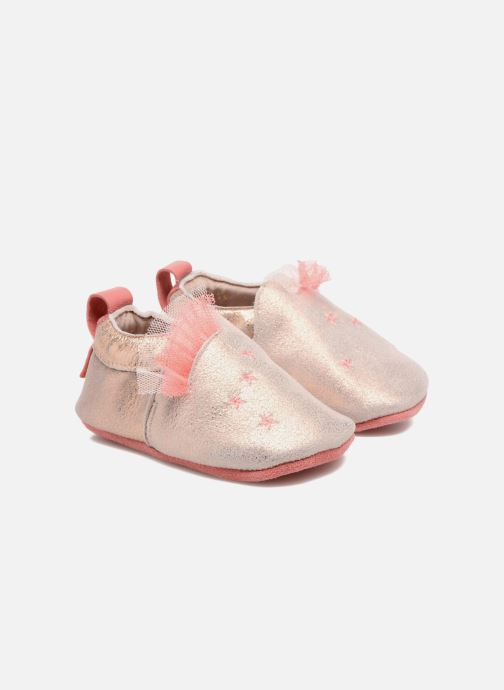 Slippers Babybotte Etoiles - Moulin Roty Bronze and Gold detailed view/ Pair view